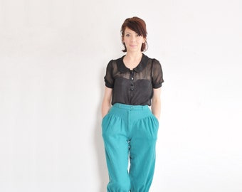 wool teal capri pedal pushers . traditional hungarian high waist trouser pant .extra small.xs .sale s a l e