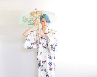 watercolor painted white cotton kimono . traditional japanese geisha robe .small.medium.large.extra large.xl .sale