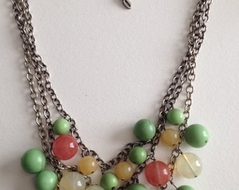 BARSE Bib Necklace Triple Strand Sterling Silver Light Green Yellow Salmon Clear Stone Beads