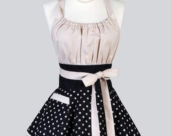 Womens Flirty Chic Apron - French Country Black And Beige Polka Dot Cute Retro Vintage Style Pin Up Kitchen Cooking Apron with Pockets