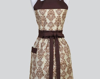Classic Womens Apron , Coffee Brown Earthy Damask Retro Vintage Style Full Kitchen Apron with Pocket