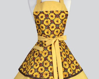 RESERVED for JAJUANX - Ruffled Retro Womans Apron - Sunflowers Vintage Style Pin Up Kitchen Apron with Pockets to Personalize or Monogram