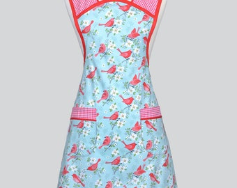 MOLLY Womans Vintage Apron . Red Birds on Aqua Red Gingham Old Fashioned Retro Full Kitchen Cooking Apron with Pockets Regular and Plus Size