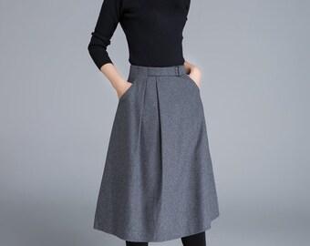 wool skirt, grey skirt, midi skirt, skirt with pockets, fitted skirt, ladies skirt, A line skirt, patchwork skirt, winter skirt  1679