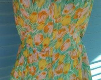 50s Playsuit - Pure Beach Party Late 50s Yellow Multi Floral Pinup Playsuit - M/L