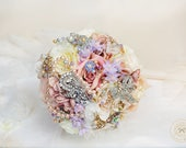 Image of Spring wedding bouquet, Wildflower bouquet, pastel bouquet, Brooch bouquet, spring bouquet, pearl bouquet, blush peony bouquet, peony posy