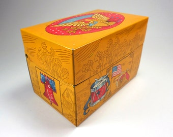 Bicentennial Recipe Tin Box, Eagle, American Flag, Drum, Canon, 1776-1976, Recipe Organizer
