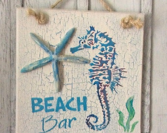 Seahorse Decor, Starfish Decor, Beach Bar Decor, Tropical Decor, Tiki Bar, Beach Sign, Beach Decor, Coastal Decor, Nautical Sign, Star Fish