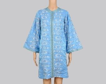 Vintage 70s Blue Embroidered Dress | Bohemian Dashiki Hippie Mini Dress | Bell Sleeve | Boho Caftan Dress Metallic Silver White | Medium M
