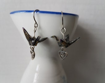 Origami earrings black and gold paper crane with charms eco-friendly jewelry