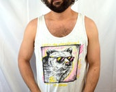 Vintage 80s 1980s Neon Wolf Mt. Rainier Puffy Paint Splatter Tank Top Shirt