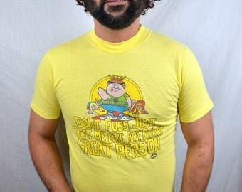 Vintage 1980s 80s Yellow Funny Super Dad Cartoon Tshirt Tee Shirt