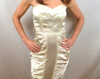 Vintage 80s White Strapless Mermaid Sparkle Ruffled Party Dress - Steppin' Out