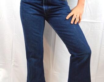 Vintage 1970s Levis Dark Wash Denim Jeans - Orange TAG - Tiger and Mushroom Patch