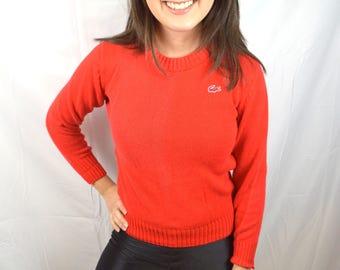 Vintage Lacoste - Hidden Alligator - Haymaker Red Knit Pullover Sweater - Size 40