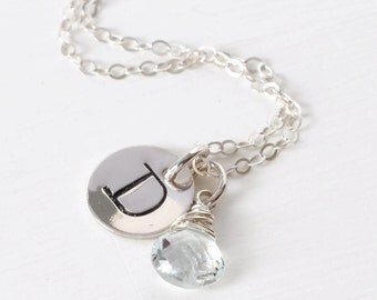Personalized Initial Necklace / March Birthstone Necklace / Push Present March Baby / Aquamarine Pendant / Handstamped Necklace