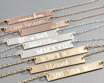 Horizontal bar necklace, Rose gold filled, Sterling silver, Gold filled, engraved, personalized, custom jewelry, name necklace, mom jewelry