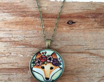 Fox with Floral Crown Necklace - Original Watercolor Hand Painted Necklace, Woodland Fox Illustration