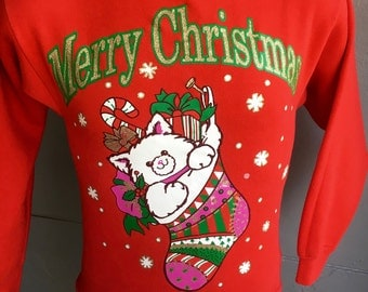 Ugly Christmas cat 1980s vintage sweatshirt red size small