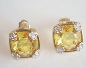 Lemon Yellow Clear Stones Gold Tone Stud Earrings