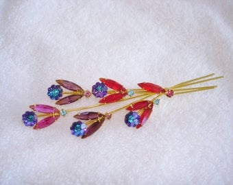 Flowers  Multi Color Rhinestone Brooch