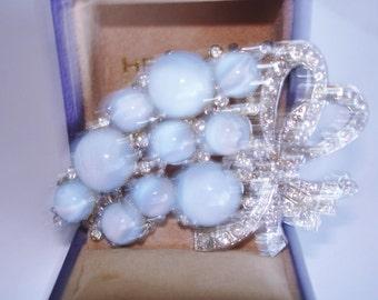 Blue Glass  Moon Stone Flower Clear Rhinestone Bow Brooch