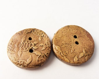 """Sea Turtle Buttons, handmade Stoneware Pottery Button, 1 1/4"""" Tan Brown"""