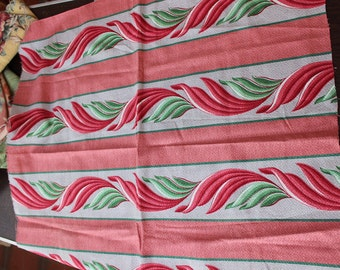 """Barkcloth Fabric Piece 35"""" x 36"""" unused Tropical Pink Green Mid Century VINTAGE by Plantdreaming"""