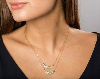 Small Vintage Bib Necklace, Boho Colorful Choker Necklace, Small Enamel Necklace Layering, Necklace Set Wedding Jewelry