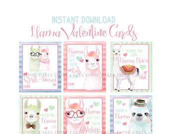 Llama Valentine Day Cards, Alpaca, Love, Instant Download Cards, Kids Valentines, Custom Valentines Cards, Animal puns, Spirit Animal