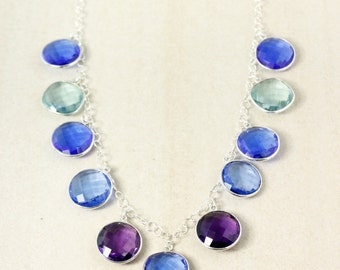 Silver Royal Blue Quartz Bib Necklace - Multi-Gemstone Bib Necklace - Statement Necklace
