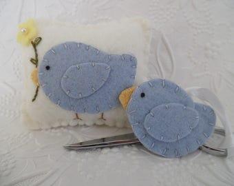 Bird Pincushion Felt Scissor FOB Set Sewing Pins Needle Keep Quilting
