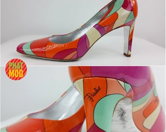 Spectacular Vintage 90s Pucci Psychedelic Pumps Shoes Heels! HOT & Avant Garde!