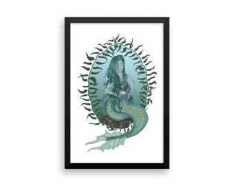 Mermaid framed art print | Mermaid | Comic | Original Artwork | Ocean