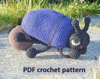 Great Big Dung Beetle with Dung - crochet pattern PDF