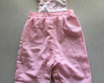 Girls vintage pink striped fluttersleeve overalls 6m