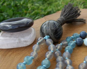 Gray Moonstone Mala, Blue Coral Mala, Blue Calcite Mala, Aquamarine Mala, Blue Mala, Gray Mala, Prayer Beads, Japa Mala, Grey Mala