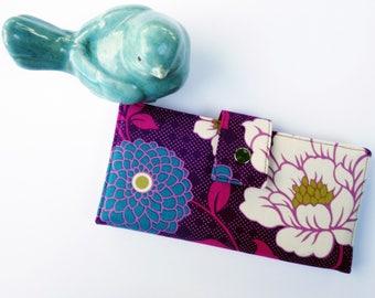 Last one, Women's wallet, floral wallet, vegan wallet, cute wallet, thin wallet, checkbook wallet, purple clutch wallet