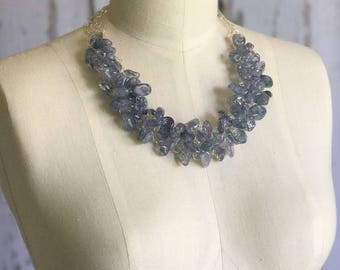 Quartz Necklace, Blue Quartz Necklace, Chunky Necklace, Statement Necklace, Wire Crochet Necklace