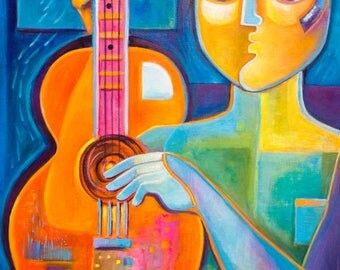 Original Modern Figurative Music Painting Acrylic Guitarist Marlina Vera Contemporary Artwork Original Pop Art musicien peinture Guitar