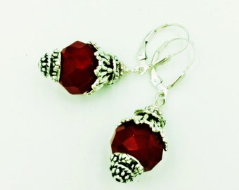 Crimson Red Drop Earrings with Silver Accents