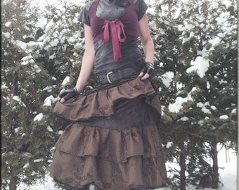 Skirt - Steampunk - Burning Man - Gypsy - Tiered Skirt  - Tango - Overskirt - Petticoat - Bohemian - Taffeta - Sexy Fashion - Size Large