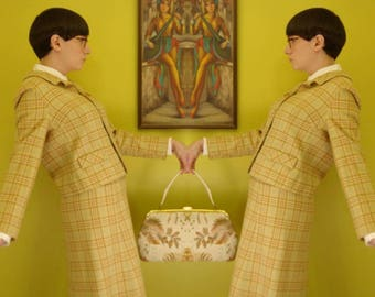 golden yellow plaid 60s pendleton skirt suit - 1211392