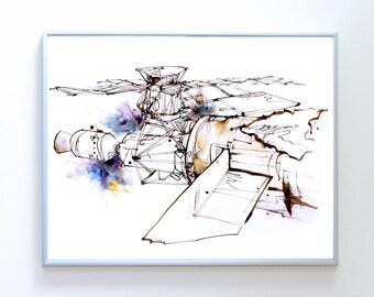 14 x 11 inch SkyLab Space Station art, Science Poster Art Print, Original Illustration - Stellar Science Series™