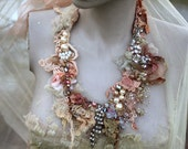 Winter collage necklace, delicate  shabby chic embroidered  statement necklace