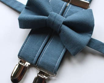 Little and Big Guy Bow tie and Suspender SET -Solid Denim Blue -(Newborn-Adult)- Spring Easter Wedding