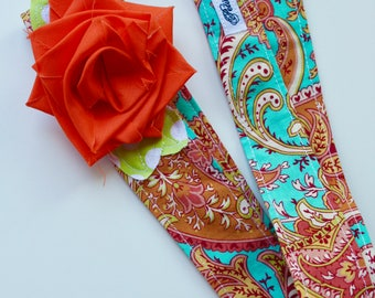 Wrap Headband Hair Scarf- Turquoise Orange Paisley - Baby Toddler Adult- Made to Order