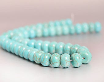 Turquoise Beads 50pcs, Big Turquoise Rondelles, Aqua Rondelle Bead Spacers, 12mm x 7mm, Turquoise Magnesite Full Strand