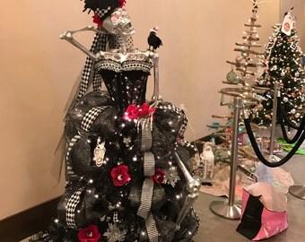 Tim Burton Prelit black and white Harlequin Gothic Skeleton corset dress Chrirstmas Tree Kit top hat and matching tree skirt READY to SHIP