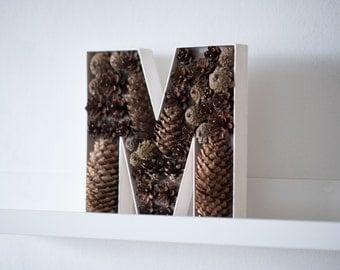 Wooden Letter - Freestanding letter - Alphabet Letter white brown - Decorative letters